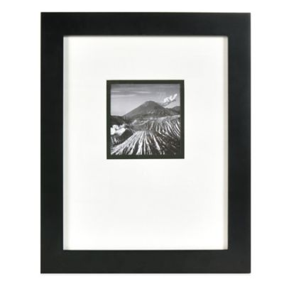 real simple black wood wall frame with white over black mat for 5 inch