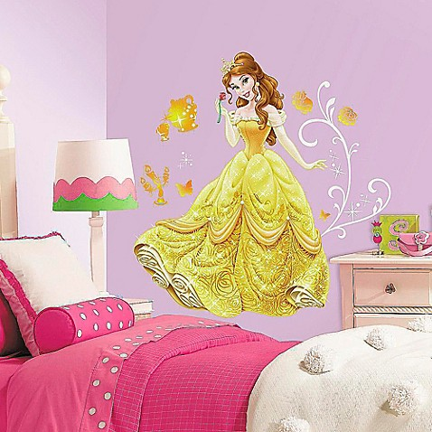 Disney princess belle giant peel and stick wall decals for Barbie princess giant wall mural