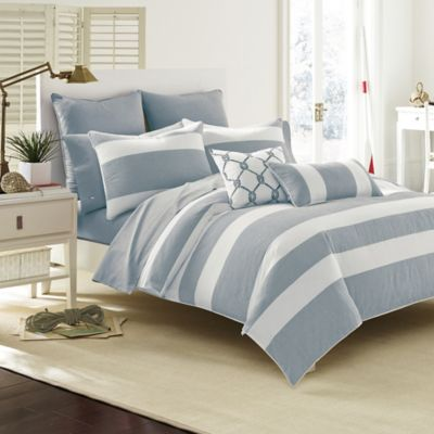 grande striped the view blue side utc products white stripe under and amalfi canopy set comforter