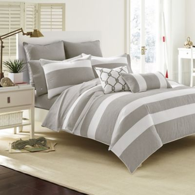 set collection hotel com striped white kitchen stripe piece california amazon king and gray dp chezmoi comforter home dobby