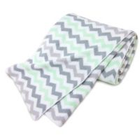 TL Care® Knit Cotton Blanket in Celery/Grey Zigzag