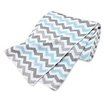 TL Care® Knit Cotton Blanket in Blue/Grey Zigzag
