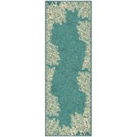 Aria Rugs Courtyard Collection Coral Reef Indoor/Outdoor 1-Foot 11-Inch x 5-Foot 7-Inch Rug in Aqua