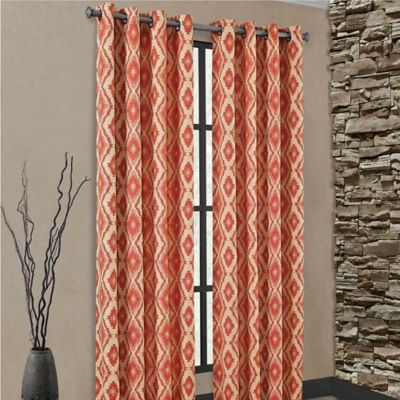 carsen grommet 84 inch window curtain panel in rust - Rust Color Curtains