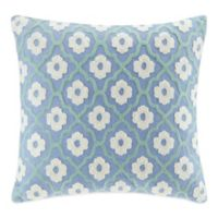 Echo Design Kamala Square Throw Pillow in Blue/Ivory