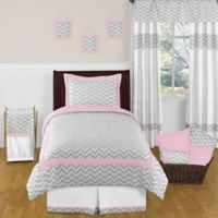 Sweet Jojo Designs Zig Zag 4-Piece Twin Comforter Set in Pink/Grey