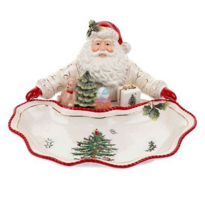 spode christmas tree gold santa dish