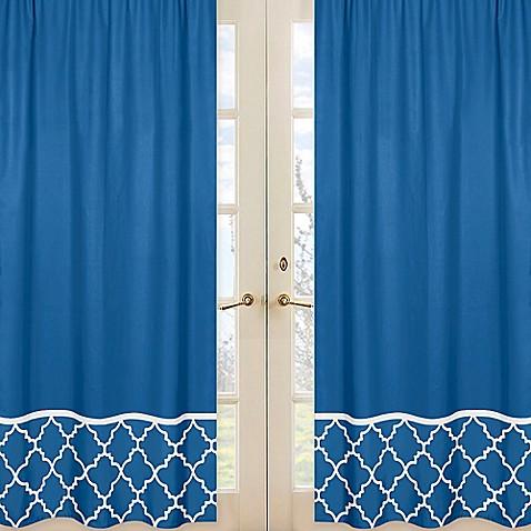 Sweet jojo designs trellis window panel pair in blue bed for Window trellis design