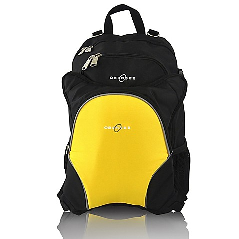 obersee rio diaper bag backpack with detachable cooler in black yellow buybuy baby. Black Bedroom Furniture Sets. Home Design Ideas