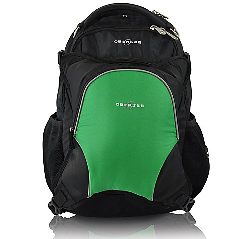 obersee oslo diaper bag backpack with detachable cooler in black green buybuy baby. Black Bedroom Furniture Sets. Home Design Ideas