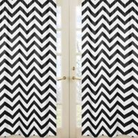 Sweet Jojo Designs Chevron Window Panel Pair in Black and White