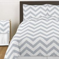 Sweet Jojo Designs Chevron 4-Piece Twin Comforter Set in Grey and White