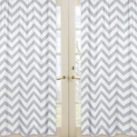 Sweet Jojo Designs Chevron Window Panel Pair in Grey/White