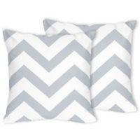 Sweet Jojo Designs Chevron Throw Pillows in Grey/White (Set of 2)