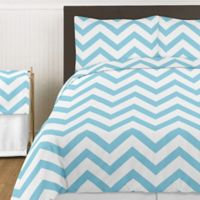 Sweet Jojo Designs Chevron 3-Piece King Comforter Set in Turquoise and White