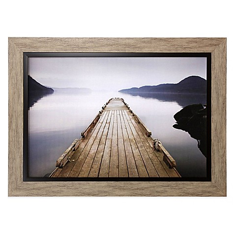 wood pier framed wall art - bed bath & beyond