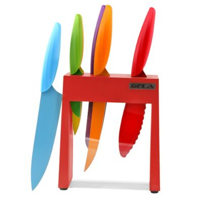 Gela 7 Piece Nonstick Coated Colored Knives With Red Acrylic Window Block Set