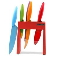 Gela 7-Piece Nonstick Coated Colored Knives with Red Acrylic Window Block Set