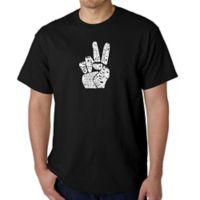 Men's Large Word Art Peace Fingers T-Shirt in Black