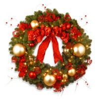 National Tree Company 3-Foot Decorative Cozy Pre-Lit Christmas Wreath with Red and Clear Lights