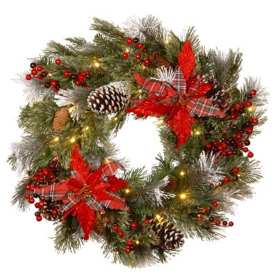 Buy 24 lighted outdoor wreath from bed bath beyond national tree company decorative collection 24 inch tartan plaid christmas wreath aloadofball Image collections
