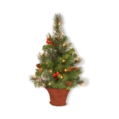 national tree 3 foot crestwood spruce pre lit half christmas tree - Half Christmas Trees