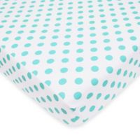 TL Care® Mix & Match Cotton Percale Fitted Crib Sheet in Aqua Dots