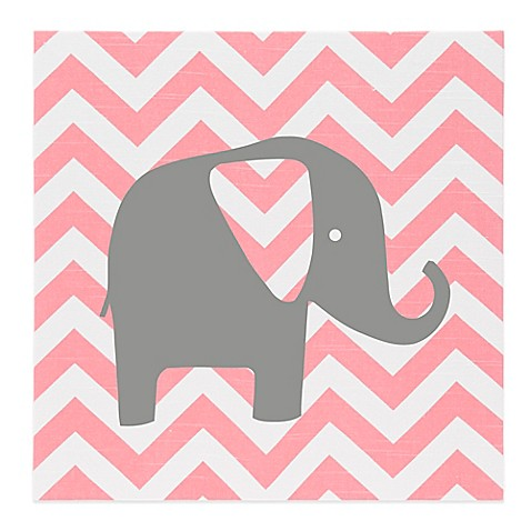Glenna Jean Swizzle Chevron Elephant Wall Art in Pink/Grey - Bed ...