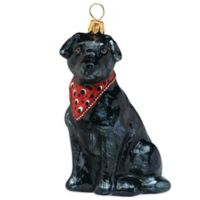 Pet Set Joy the World Collectibles Black Labrador Retriever with Bandana Christmas Ornament