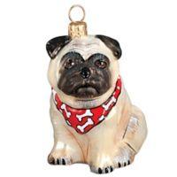 Pet Set Joy the World Collectibles Fawn Pug with Bandana Christmas Ornament
