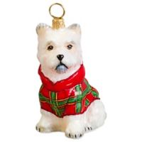 Joy to the World Collectibles Diva Dog Westie in Tartan Plaid Hoodie Christmas Ornament
