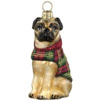 Diva Dog Joy to the World Collectibles Pug in Tartan Plaid Coat Christmas Ornament