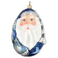 Joy to the World Collectibles Santa Orb Blustery Winter Version Christmas Ornament