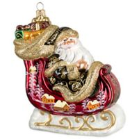 Joy to the World Collectibles Santa's Sleigh Vintage Red Russian Version Christmas Ornament
