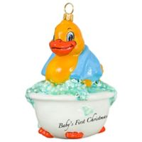 Joy the World Collectibles Baby's First Rubber Ducky Christmas Ornament with Blue Towel