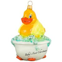 Joy the World Collectibles Baby's First Rubber Ducky Christmas Ornament with Yellow Towel