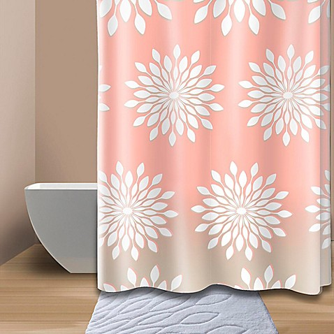 Extra Wide Medina Floral Shower Curtain In Coral White