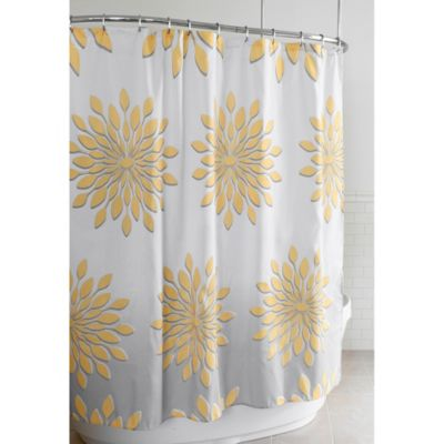 extrawide medina floral shower curtain in whiteyellow