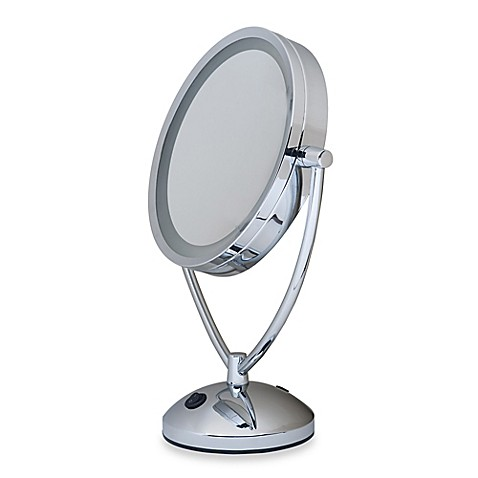1x 10x magnifying lighted chrome vanity mirror bed bath 85748