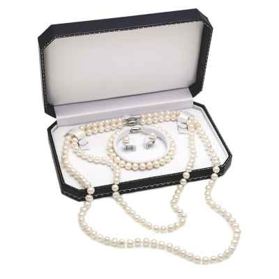 Sterling Silver Freshwater Cultured Pearl 4-Piece Jewelry Set