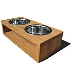 Pet Lounge Studios Bambu Small Diner in Bamboo/Stainless Steel
