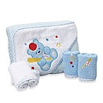 Spasilk® Baby Baseball Bear 5-Piece Terry Hooded Towel and Washcloth Set in Blue