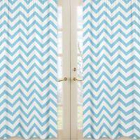 Sweet Jojo Designs Chevron Window Panel Pair in Turquoise and White