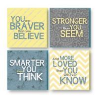 "Imagine Design ""Brave,"" ""Strong,"" ""Smart,"" ""Loved"" Plaques in Grey/Yellow (Set of 4)"