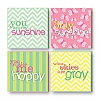 "Imagine Design ""You Are My Sunshine"" Plaques in Green/Pink (Set of 4)"