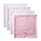 SpaSilk® Girls' 4-Pack Flannel Receiving Blankets in Pink Flower
