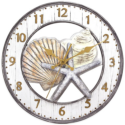 Shell Wall Clock In Grey Bed Bath Amp Beyond