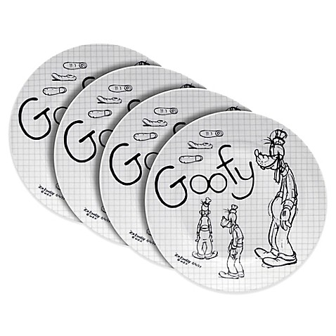 Zrike Disney® Goofy Sketchbook Salad Plates in Black/White (Set of 4)