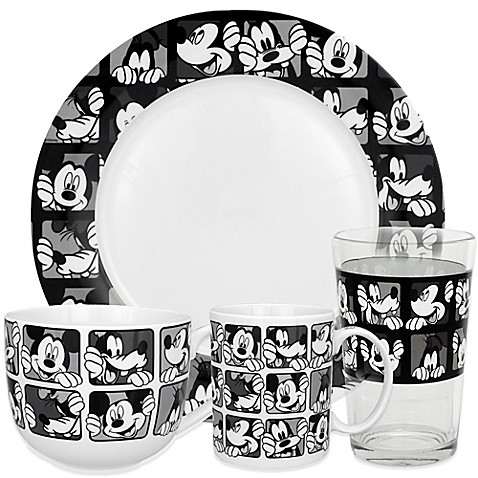 Zrike Disney® Mickey Grid Dinnerware in Black/White  sc 1 st  Bed Bath u0026 Beyond & Zrike Disney® Mickey Grid Dinnerware in Black/White - Bed Bath u0026 Beyond