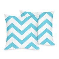 Sweet Jojo Designs Chevron Throw Pillows in Turquoise and White (Set of 2)